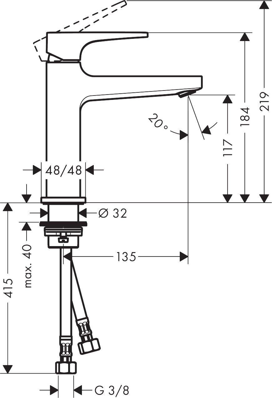 110 mm Hansgrohe 74507000 Metropol 110 Grifo de lavabo con vaciador Push-Open Cromo