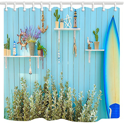KOTOM Tropical Decor Shower Curtain, A Lighthouse and Plants on Shelf on Wall and A Blue Surfboard, Polyester Fabric Bath Curtains with Hooks 69W X 70L Inches (Shelf Surfboard Wall)