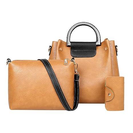Conjuntos de bolsas de 3 piezas Bolsos de cuero suave de las mujeres bolso de mano bolso de hombro bolso Color sólido Bolso de moda de ocio + Bolsos ...