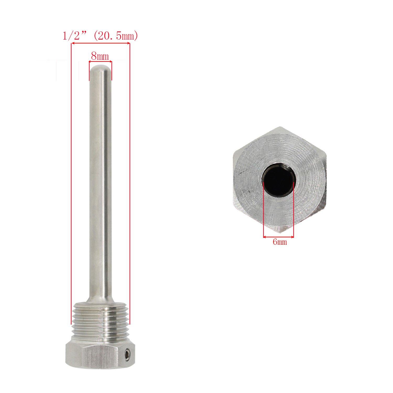 Immersion well pour sonde acier inoxydable 304 Doigt de gant /à visser avec vis de blocage immersion de 30mm 50mm 100mm 200mm 300mm 400mm 500mm 1//2 pouce 100mm