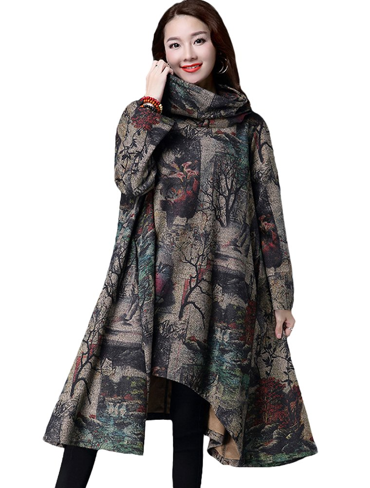 Mordenmiss Women's Printed Long Sleeve Warm Pulloevr Dress With Scarf Collar M, Style 2 Khaki