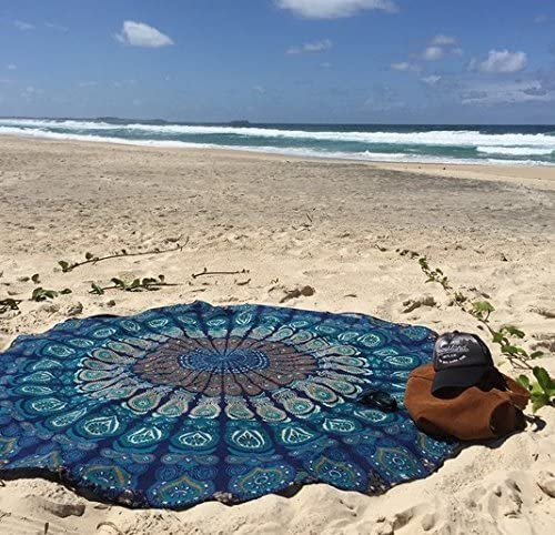 Popular Handicrafts Set of 2 Mandala Round Tapestry, Round Beach Throw Hippie Indian Mandala Roundie Picnic Table Cover Hippy Spread Boho Gypsy Cotton Tablecloth 70
