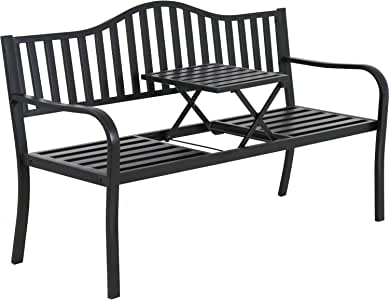 Park Bench Metal Bench Garden Bench Chair Outdoor Benches Clearance Patio Bench Yard Bench Porch Work Entryway Steel Frame Furniture
