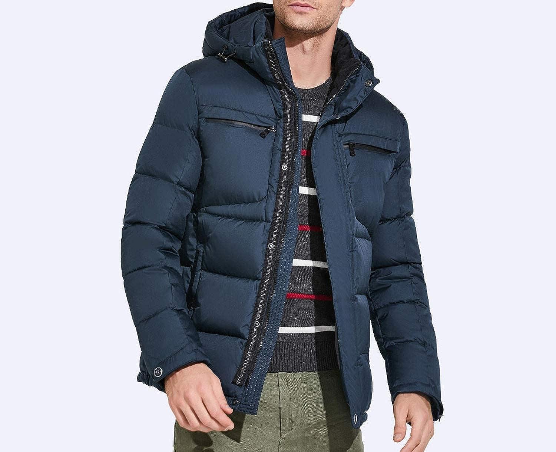 Mens Winter Jackets Chest Exquisite Pocket Simple Hem Practical Waterproof Parka,Acknowledgment,5XL