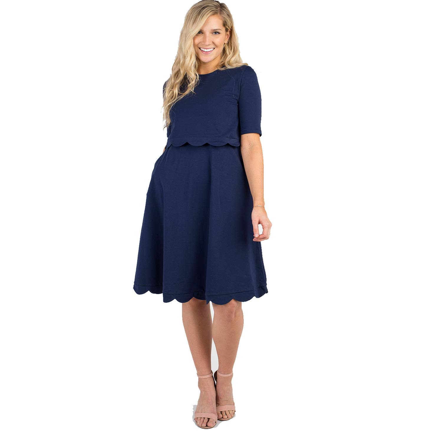 Called To Surf Knit Maternity Nursing Dress with Short Sleeves and Pockets. (Blue, Medium) by Called To Surf