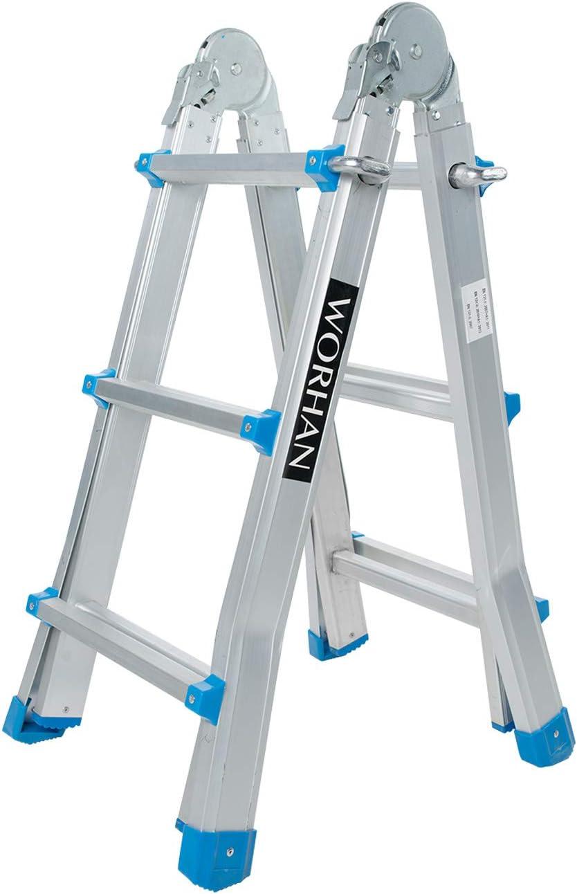 WORHAN® Escalera 302cm Aluminio Telescopica 3.02m Multifuncion Multiuso Aluminio Plegable Tijera L3: Amazon.es: Electrónica