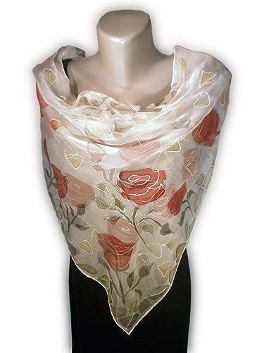 Super remise artisanat de qualité vraiment pas cher MATIN EN ROSE Foulard peint à la main, 100% soie naturelle ...