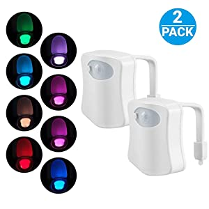 2-Pack Original Toilet Night Light Gadget, Fun Bathroom Lighting Add on Glow Bowl Seat, Motion Sensor Activated LED 9 Color Modes - Weird Novelty Funny Birthday Gag Gifts for Adults, Kids & Toddlers