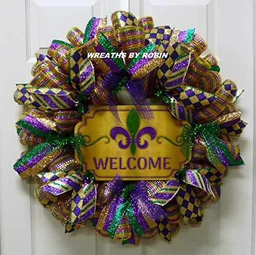 Mardi Gras Welcome Wreath, Deluxe Mardi Gras Wreath (3743) -