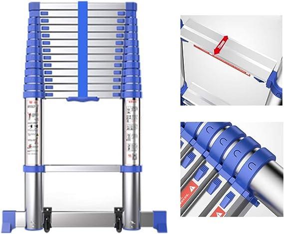 AA-SS Escalera telescópica de Aluminio y Escalera de extensión Tipo Loft - Escaleras Plegables Extra Altas y protable con Barra estabilizadora, admite 150 kg: Amazon.es: Hogar