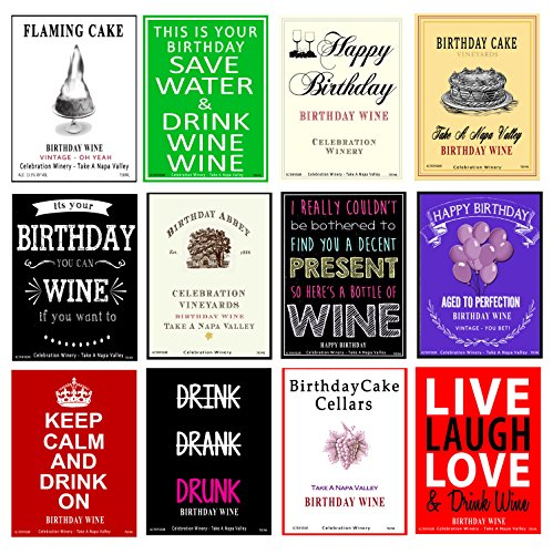Set of 12 - Funny Birthday Wine Bottle Labels - 5 Inch X 4 Inch