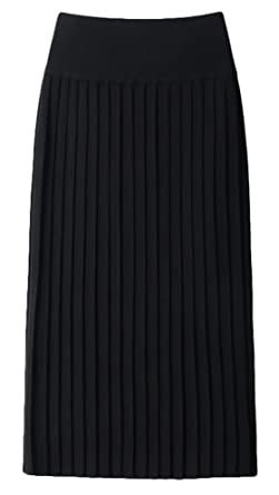 e8b2065909 Youhan Women's Winter Elastic Pleated Knit Long Skirt (Free Size, Black)