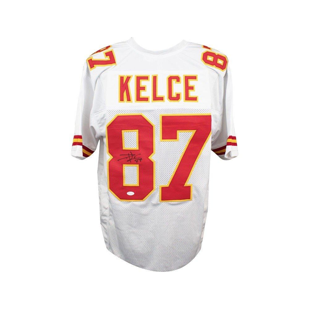 sports shoes 99f30 fce78 Travis Kelce Autographed Kansas City Chiefs Custom White ...