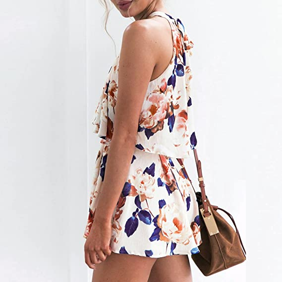 249714e469569 Amazon.com  Women Rompers Floral Sleeveless Casual Tops Shorts Two Piece  Outfits Jumpsuits Playsuits  Clothing
