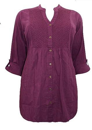 0ec30eba6b2c7 EX Evans Ladies Womens Cotton Beaded Purple Tunic Blouse Top 16 18 20 22  (22)  Amazon.co.uk  Clothing