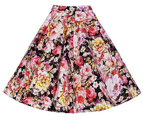 swing Multicolor imprim 50 Fleur Femme fleurs des Eudolah style midi Jupe annes vintage uni gwIpq87Rx