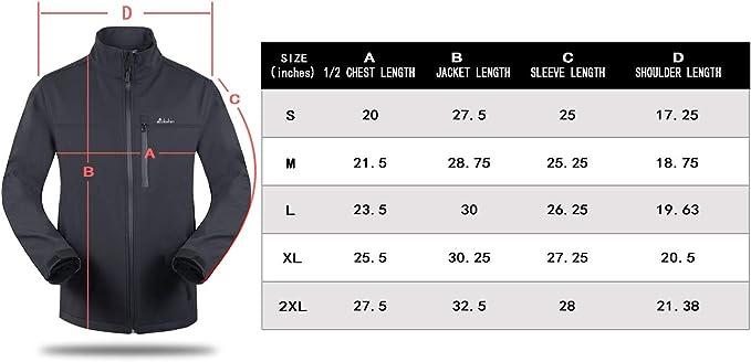 Clothin Mens Softshell Jacket Windproof Front-Zip Fleece-Lined Ski Insulated Coat