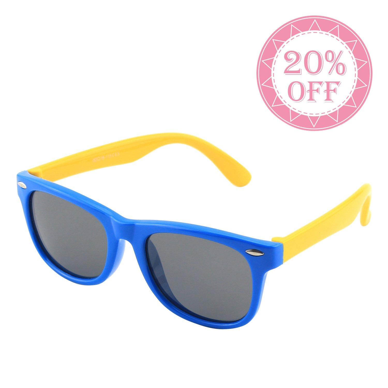 CGID Gummi Flexible Kinder Polarisierte Wayfarer-Style Sonnenbrillen für Baby und Kinder im Alter von 3-6, K02