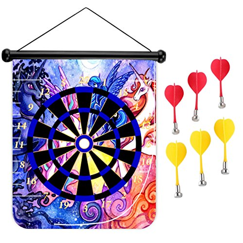 15 inches Magnetic Dart Board Double Sided Hanging Dart Board Set and Bullseye Game! Unicorn
