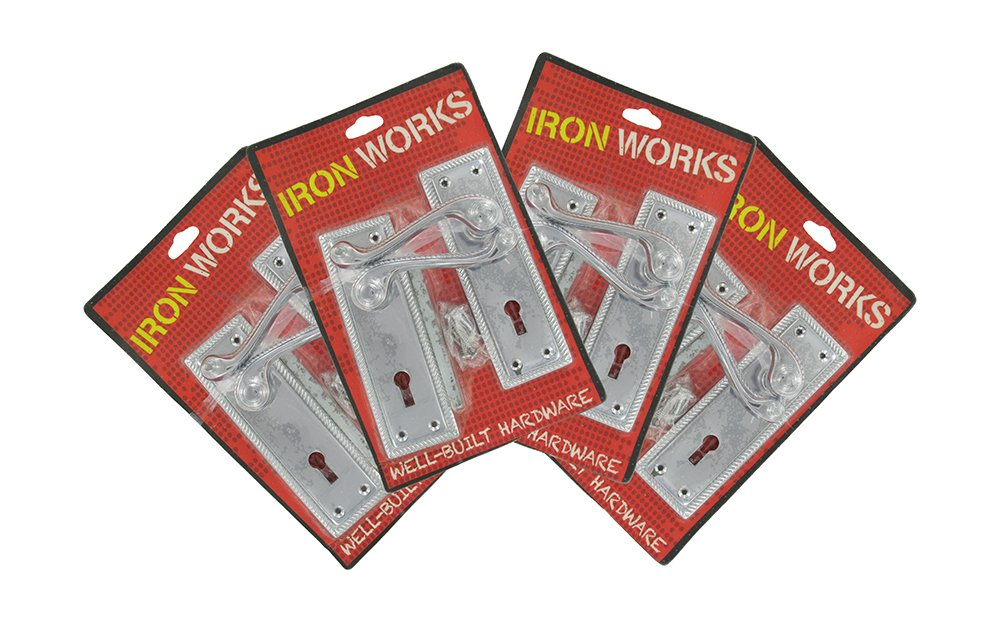 IRON WORKS 0071 6-Inch Chrome Finish Georgian Rope Style Lock Door Handles (4 Pair)