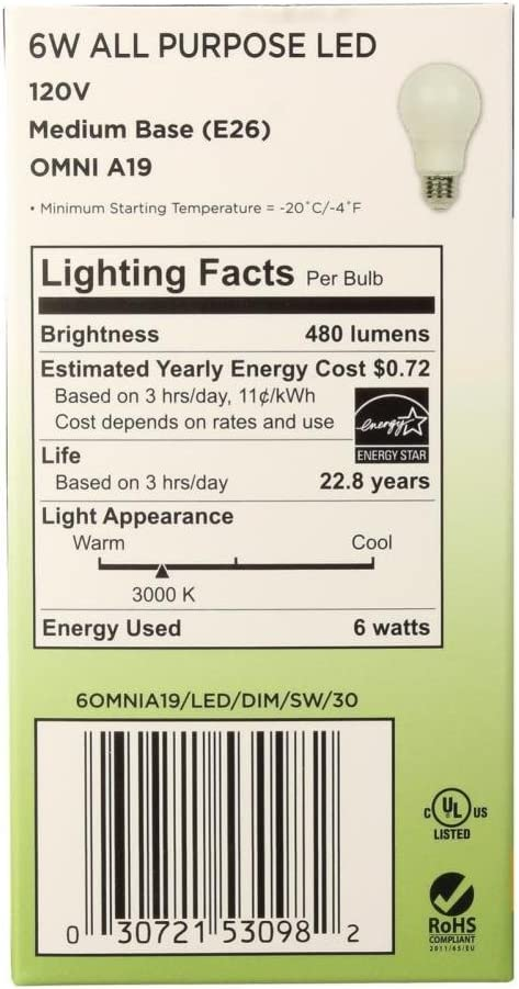 6 Pack Westinghouse Lighting 5309420 60-Watt Equivalent Omni A19 Dimmable Bright White LED Energy Star Light Bulb with Medium Base