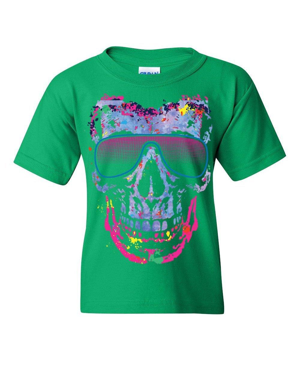 Neon Skull Sunglasses Youth T-Shirt Swag Multicolor Music EDM Rave Pop Kids Tee Green S