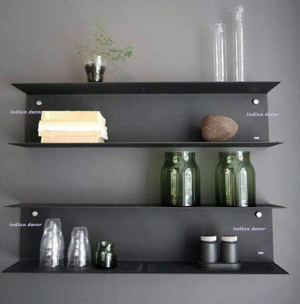 INDIAN DECOR. 4005 Metal Style Mild Steel Wall Shelf  LxBxH 18x5x5 inch, Black  Wall Shelves