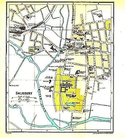 Amazon Com Salisbury England 1924 Color Lithograph City Street Plan