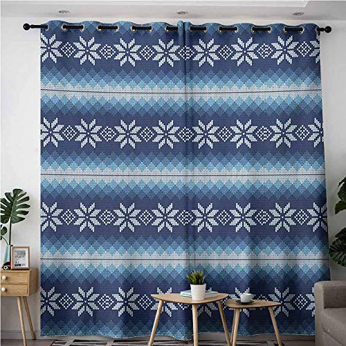 VIVIDX Extra Wide Patio Door Curtain,Winter Traditional Scandinavian Needlework Inspired Pattern Jacquard Flakes Knitting Theme,Great for Living Rooms & Bedrooms,W120x96L,Blue White (Ribbon Dot Jacquard)