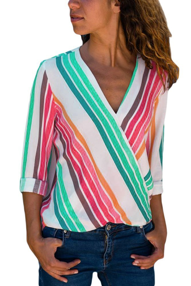 HOTAPEI Womens Casual V Neck Striped Chiffon Blouses and Tops Long Sleeve Wrap Business Shirts Colorful Large