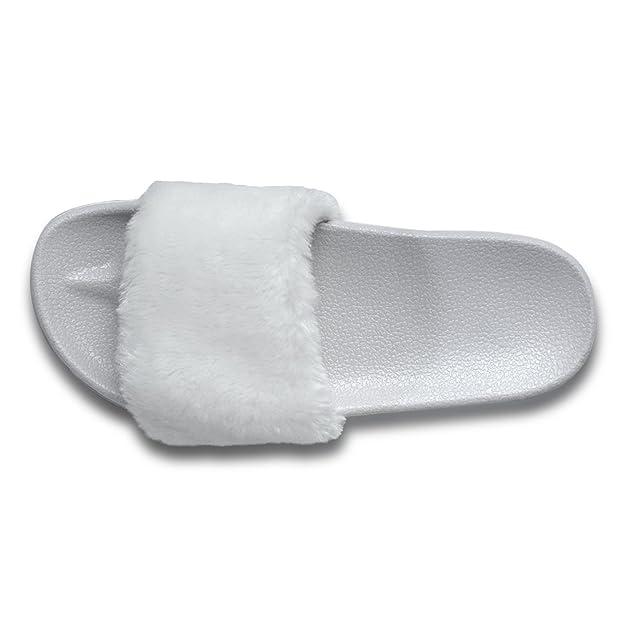 ONCAI Di Finto Pelo Sandalo Pantofole Da Donna (39.5, Nero)
