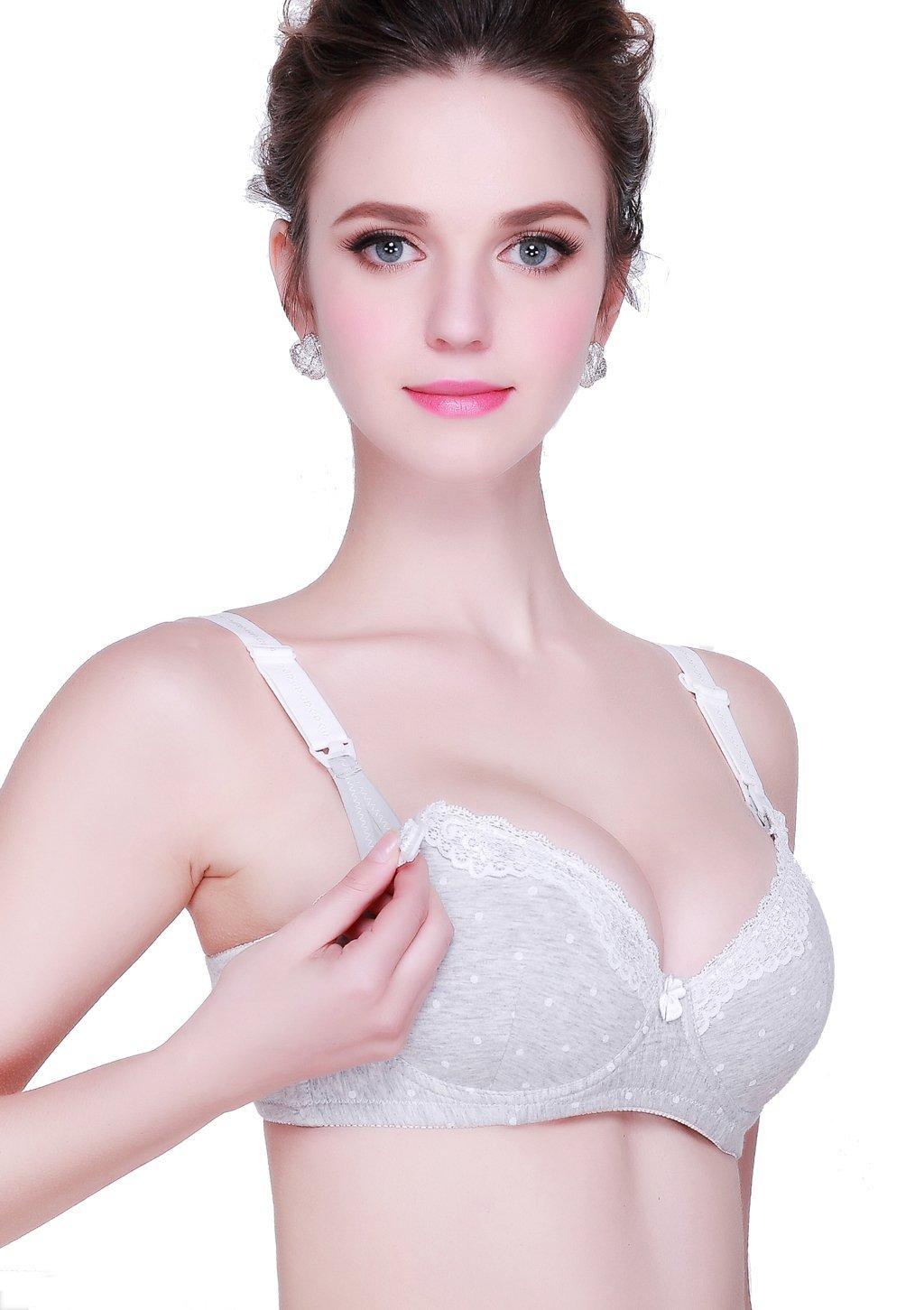 KOOYOL Nursing Maternity Bra Women Cotton Underwire Push up Bra for Breastfeeding