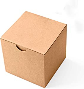 MESHA Cardboard Gift Boxes 50Pack 3X3X3 inch Kraft Paper Present Packaging Box with Lid, Small Decorative Gift Wrap Boxes Bulk for Bridesmaid Proposal Birthday Party Wedding