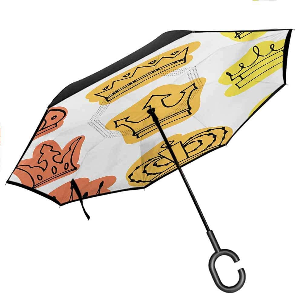 Kgblfd King Umbrellas for Women with UV Protection Forest Jungle Emperor Safari Animal Lion with Medieval Design Frame Print Hands-Free C-Shape Handle for UV Protection & Rain, Grey White Coral Black