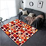 Vanfan Design Home Decorative 312748214 Geometric abstract seamless pattern Retro 60s style and colors Squares circles composition Modern Non-Slip Doormats Carpet for Living Dining Room Bedroom Hall