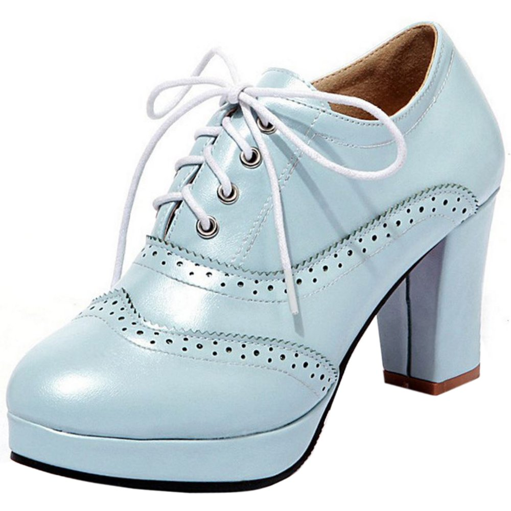Zanpa Damen Mode Plateau Oxford Schuhe40 EU / 41 AS / 255 CM|Blue