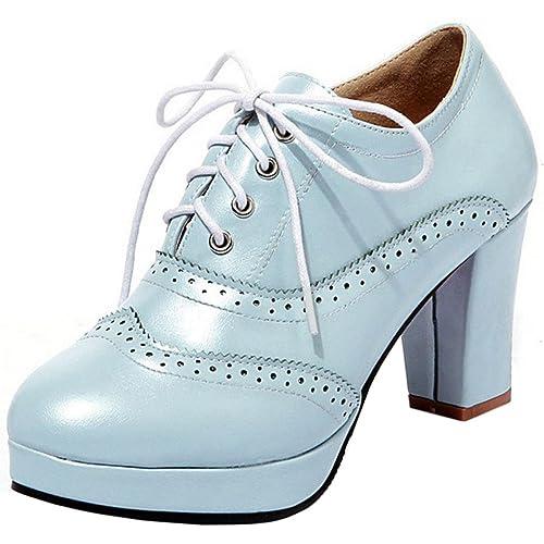 1b164c14 Zanpa Mujer Moda Plataforma Pumps Tacon Grueso Cordones Oxford Zapatos Blue  Tamano 34: Amazon.es: Zapatos y complementos