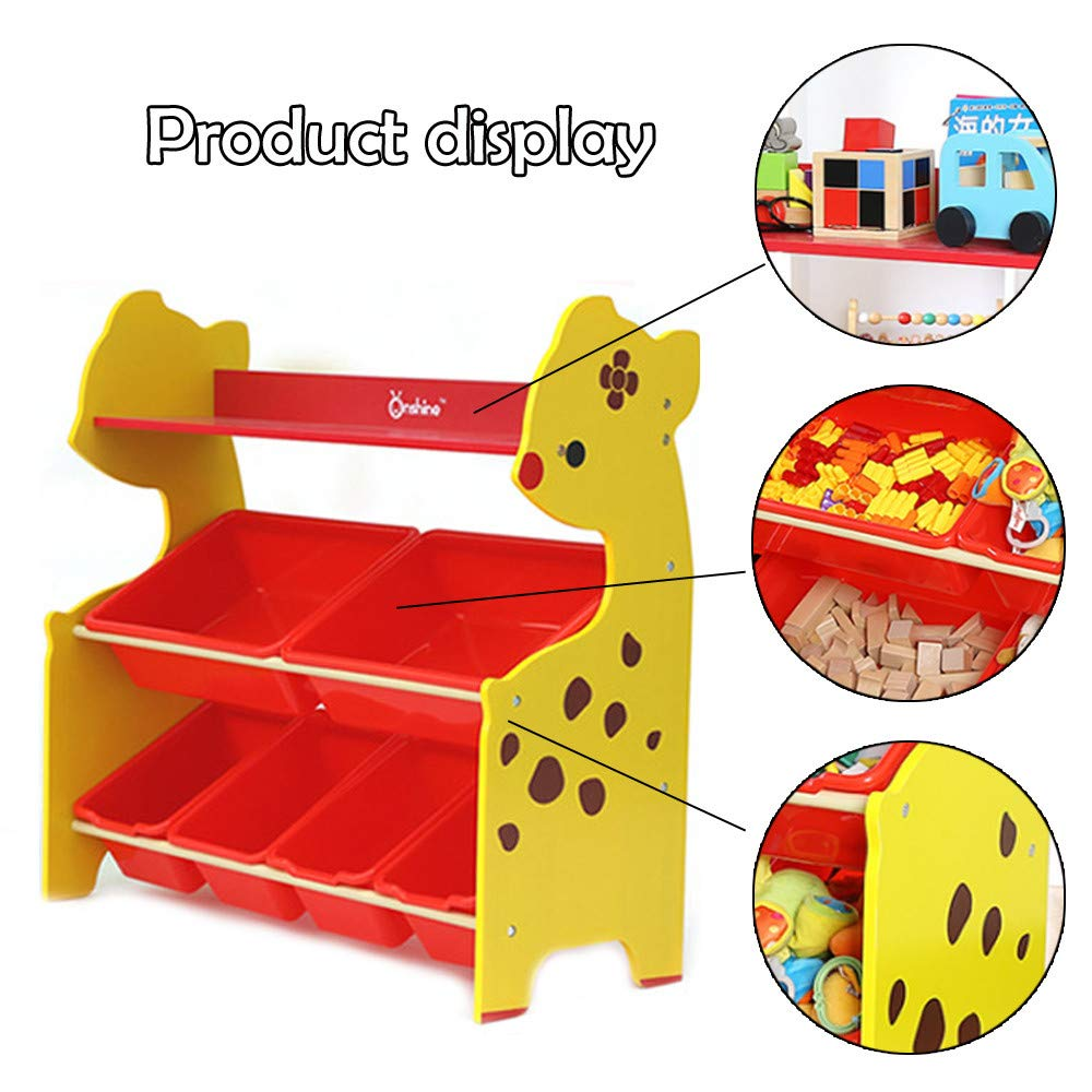 pollyhb Toy Storage Shelves, Baby Kids Educational Storage Rack Wooden Deer Shape Finishing Shelf for Children Playroom