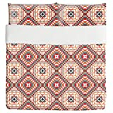 Kilim Squares Duvet Bed Set 3 Piece Set Duvet Cover - 2 Pillow Shams - Luxury Microfiber, Soft, Breathable