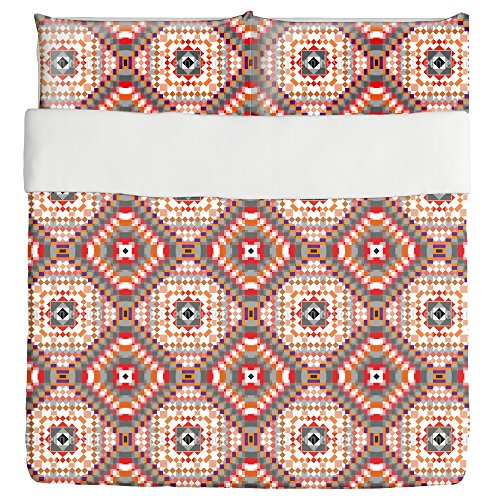Kilim Squares Duvet Bed Set 3 Piece Set Duvet Cover - 2 Pillow Shams - Luxury Microfiber, Soft, Breathable by uneekee