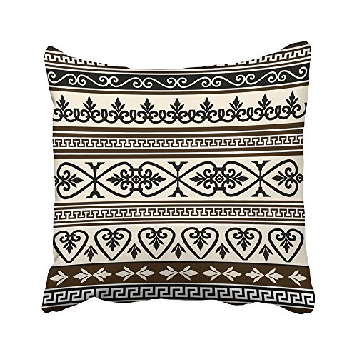 Emvency Decorative Throw Pillow Covers Cases Ancient Collections Antique Borders Baroque Classical Drawing Emblem Floral Flower Graphic 16x16 inches Pillowcases Case Cover Cushion Two Sided