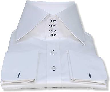 High collar shirt White 100/% Cotton 4 buttons Spread collar Mens Single cuff