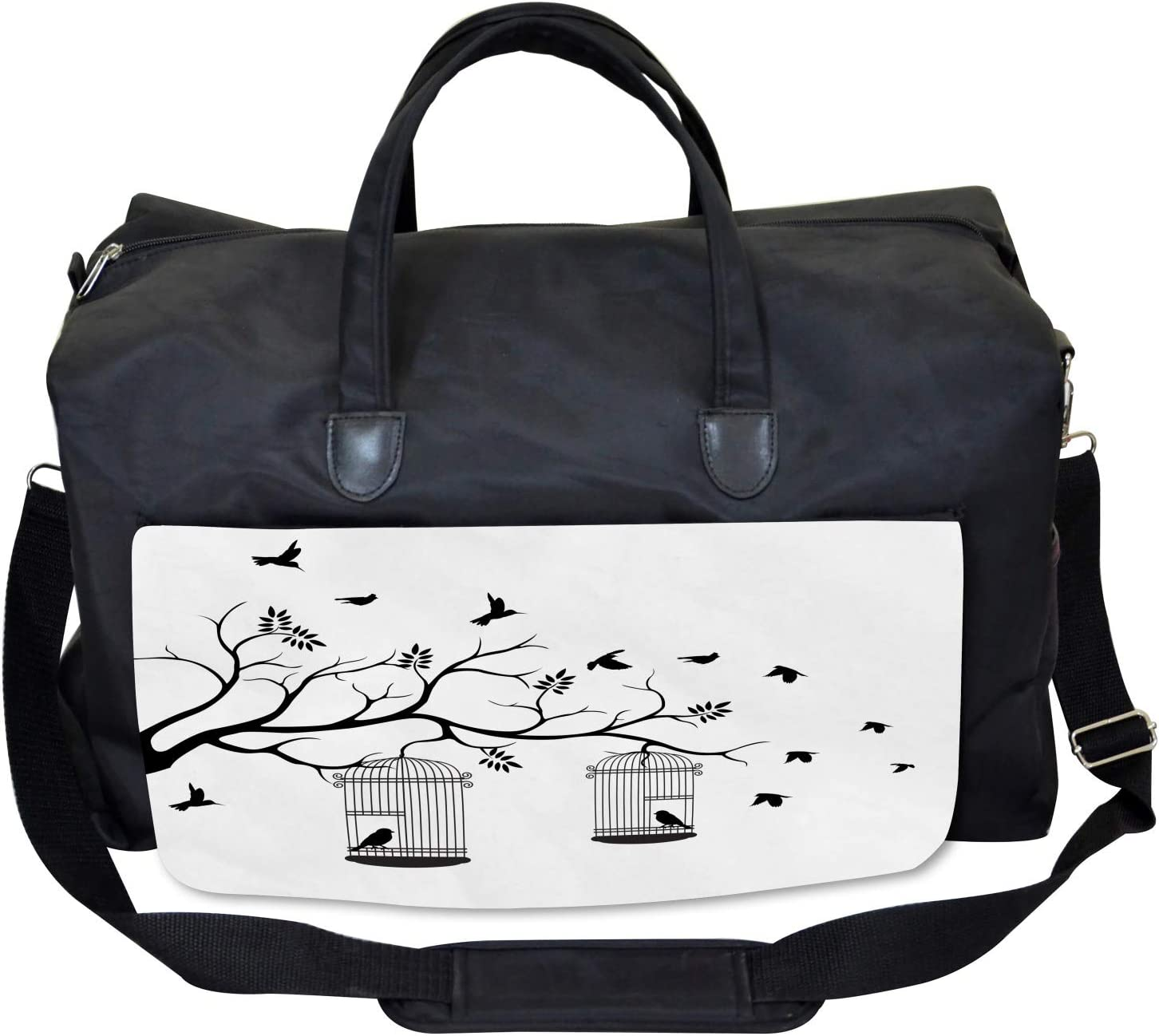Birds Flying to Cages Ambesonne Romantic Gym Bag Large Weekender Carry-on