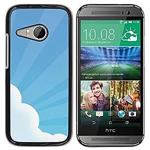 Be Good Phone Accessory // Dura Cáscara cubierta Protectora Caso Carcasa Funda de Protección para HTC ONE MINI 2 / M8 MINI // Sky Sun Rays Cloud Blue White Art