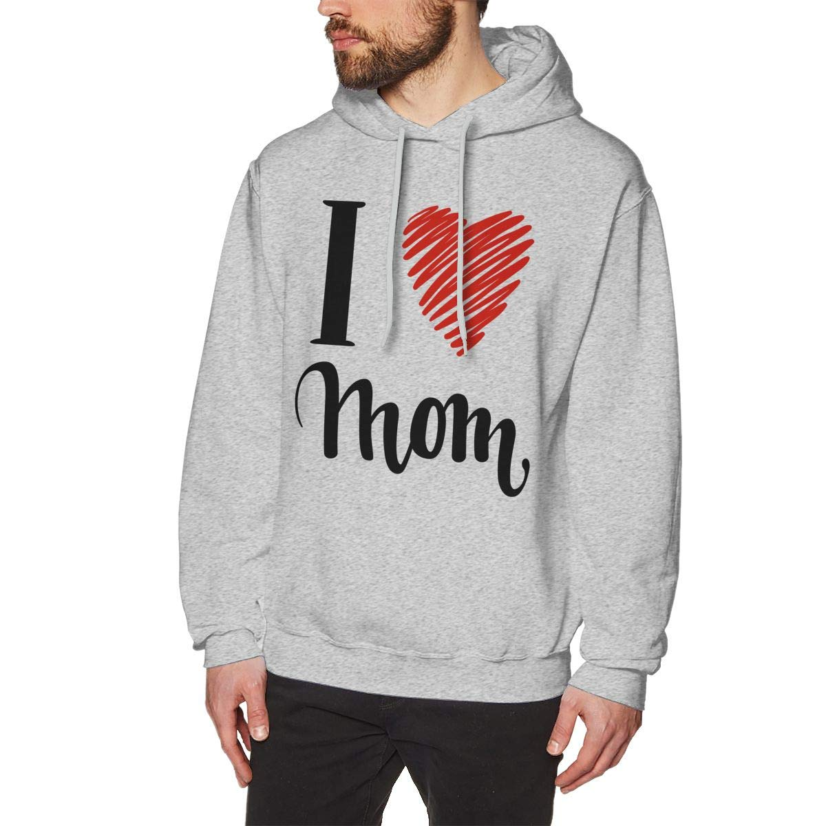 Mens Fashion Solid Color Hoodie Long Sleeve Drawstring I Love You Mom Hooded Sweatshirt