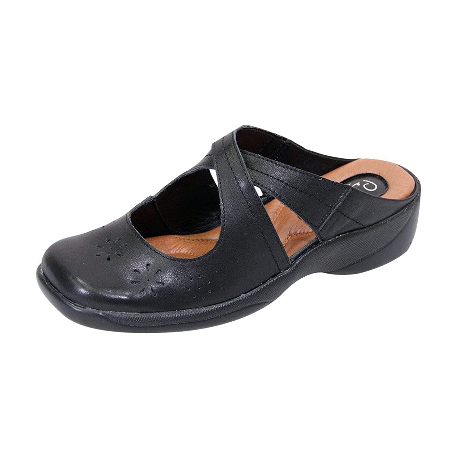 FIC PEERAGE Casey Women Wide Width Casual Leather Comfort Clogs for Everyday (Size & Measurement Guides)