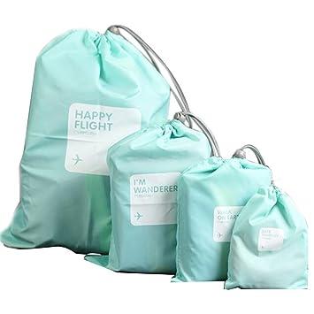 Lote de 4 bolsas impermeables para maquillaje o ropa interior, ideal para viajes, color