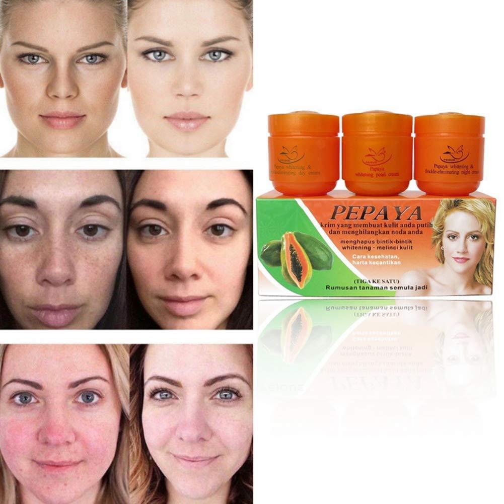 3 In 1 Papaya Whitening Freckle Pearl & Day & Night Cream, Moisturizing Anti-freckle, Improved Dark Yellow Skin, Brighten Skin Color, Dark Spots Freckle Eliminating Facial Cream