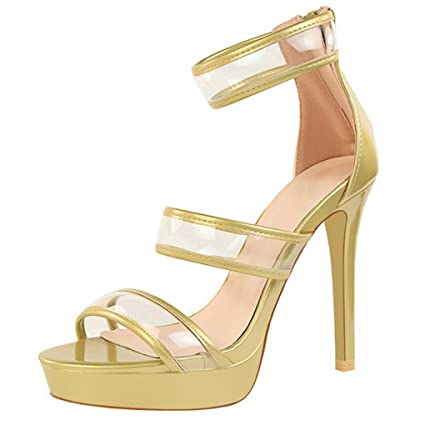 6173fae8a Amazon.com  Genepeg Womens Sandals Summer Thin High Heels Sexy Platform  Party Transparent Shoes  Sports   Outdoors