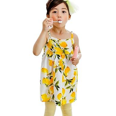 c1c7ce3d5502f 【韓国子供服】キャミワンピース 女の子 キッズ ジュニア ホワイト地×レモン 140cm